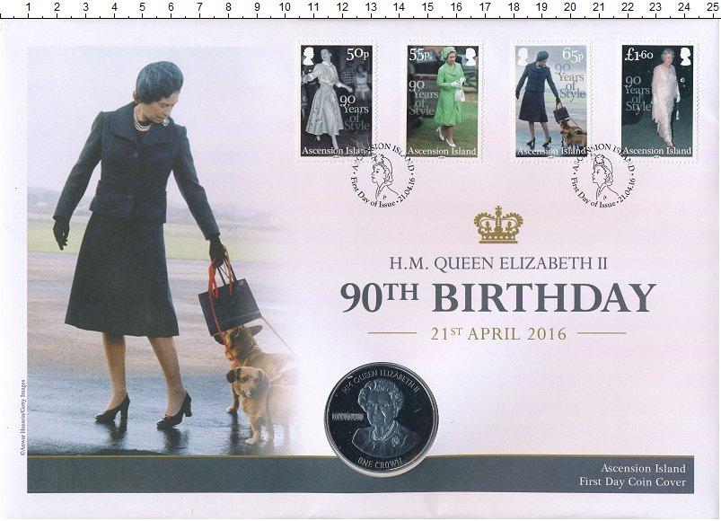 Изображение Подарочные монеты Остров Вознесения 1 крона 2016 Медно-никель UNC 90 лет королеве Елиз