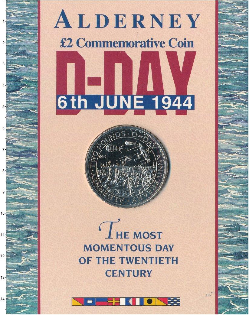 Изображение Подарочные монеты Олдерни 2 фунта 1994 Медно-никель UNC 50 лет Высадке в Нор