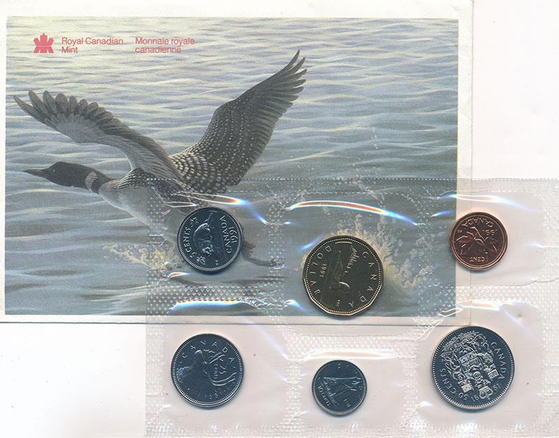 Изображение Подарочные монеты Канада Набор 1991 года 1991  UNC В набор входят шесть