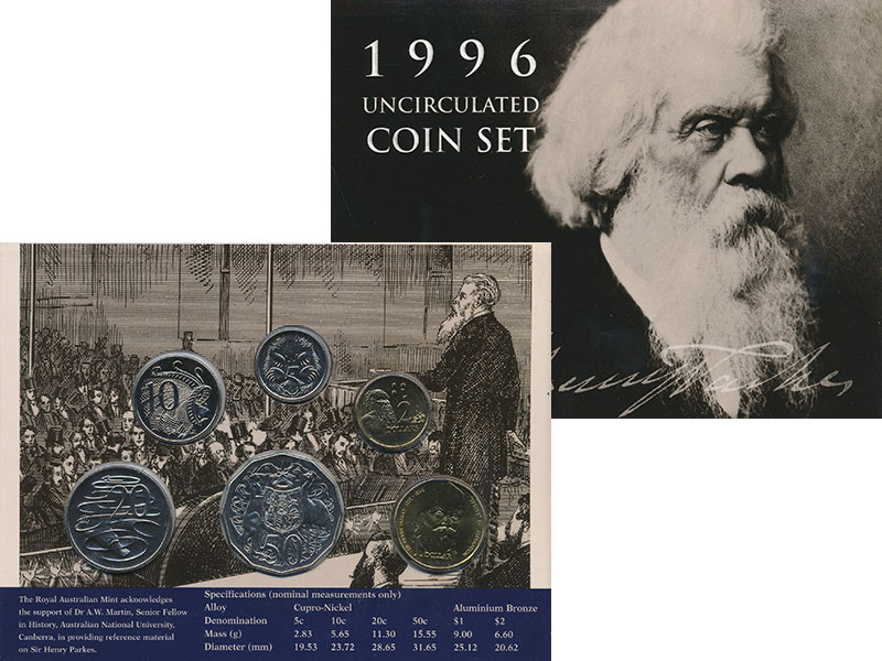 Изображение Подарочные монеты Австралия Набор 1996 года 1996  UNC В набор входят пять