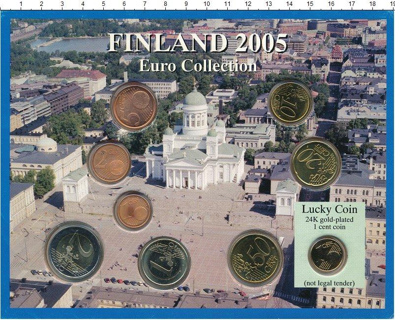 Изображение Подарочные монеты Финляндия Евронабор 2005 года 2005  UNC `В набор входят семь