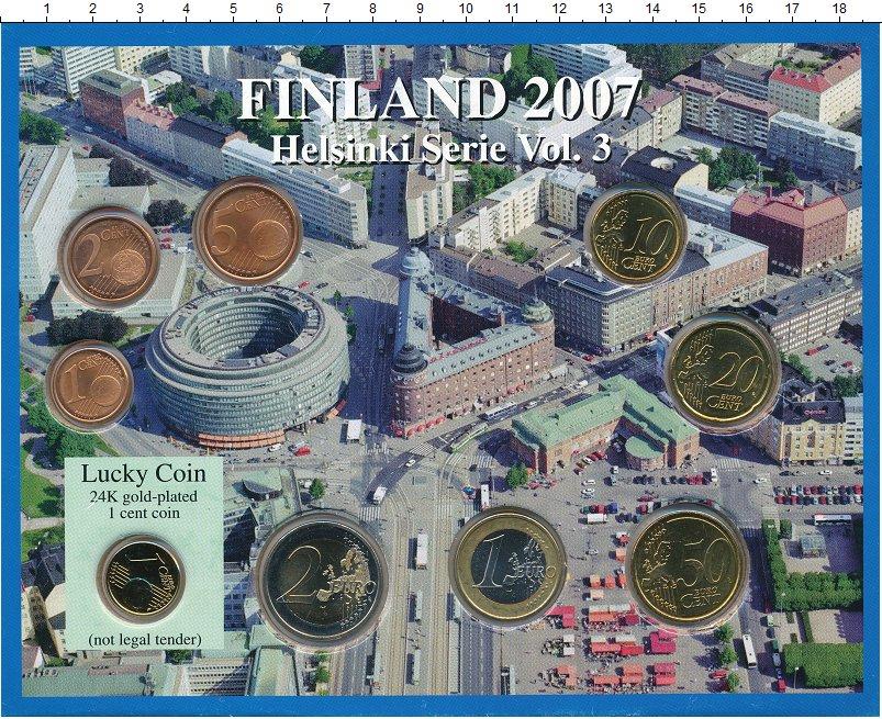 Изображение Подарочные монеты Финляндия Евронабор 2007 года 2007  UNC `В набор входят семь