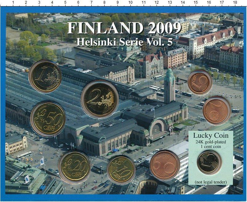 Изображение Подарочные монеты Финляндия Евронабор 2009 года 2009  UNC `В набор входят семь
