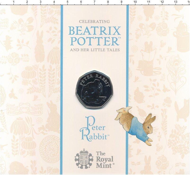 Изображение Подарочные монеты Великобритания 50 пенсов 2020 Медно-никель BUNC Кролик Питер Беатрис