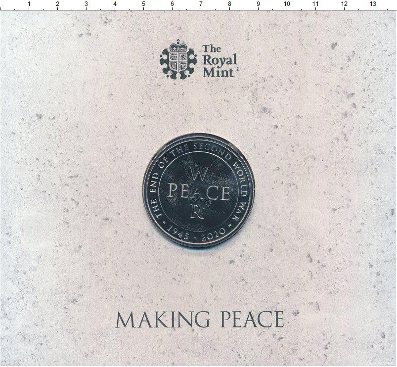 Изображение Подарочные монеты Великобритания 5 фунтов 2020 Медно-никель BUNC 75 лет окончания Вто