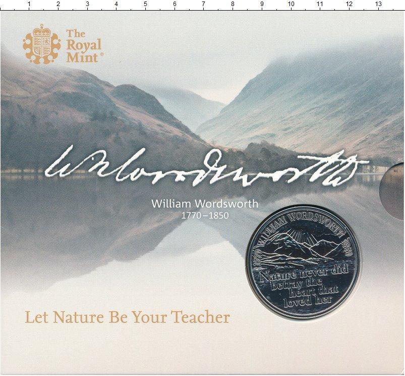 Изображение Подарочные монеты Великобритания 5 фунтов 2020 Медно-никель BUNC Уильям Вордсворт. Ор