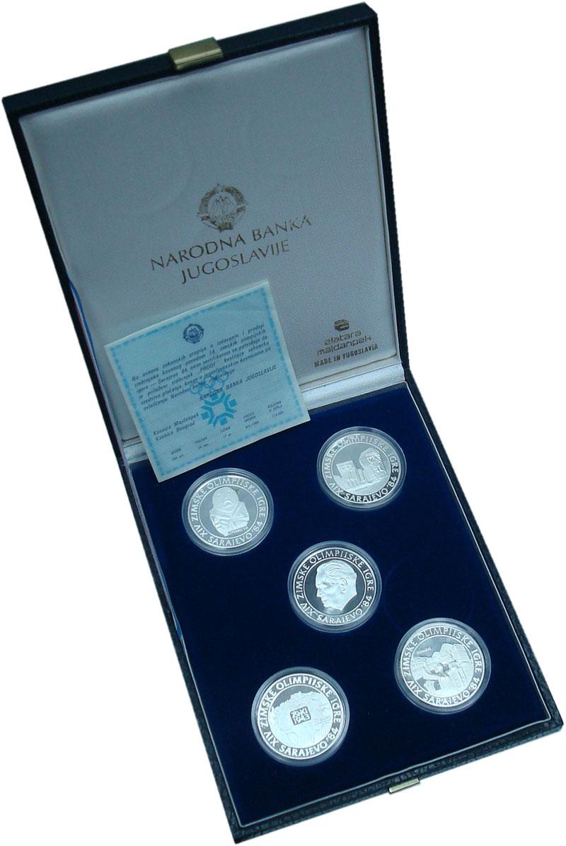 Изображение Подарочные монеты Югославия Олимпиада в Сараево 1984 Серебро Proof Набор из пять монет