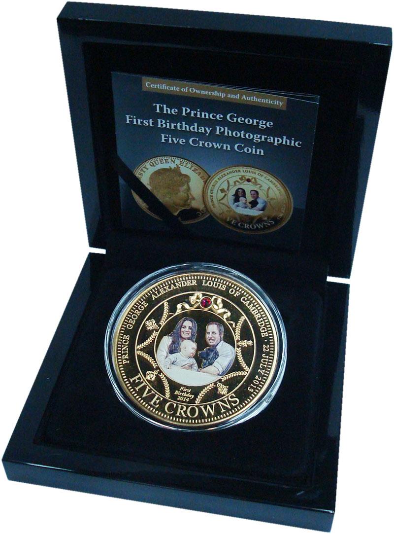 Изображение Подарочные монеты Тристан-да-Кунья 5 крон 2014 Медно-никель Proof Годовщина рождения п
