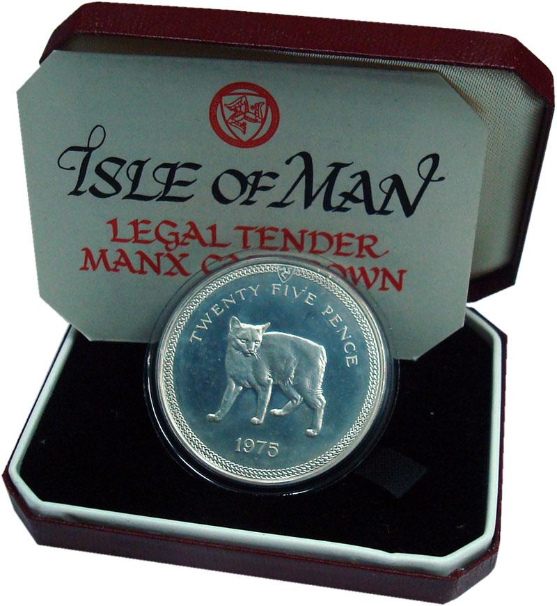 Изображение Подарочные монеты Остров Мэн 25 пенсов 1975 Серебро Proof- Менкс - бесхвостая м