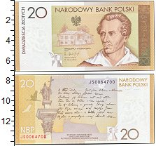 """Изображение Банкноты Польша 20 злотых 2009  UNC <font face=""""arial, s"""