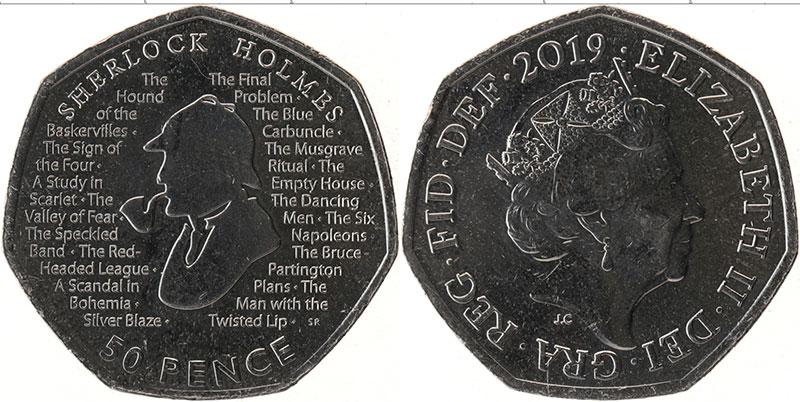 Набор монет Великобритания 50 пенсов Медно-никель 2019 UNC фото 2