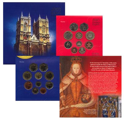 Изображение Подарочные монеты Великобритания Набор 2003 года 2003  AUNC В наборе 10 монеты В