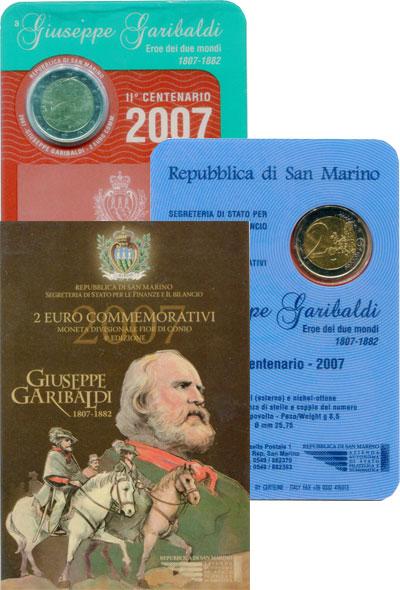 Изображение Наборы монет Сан-Марино Джузеппе Гарибальди 2007  UNC Набор посвящен 300-л