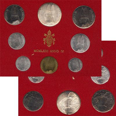 Изображение Подарочные монеты Ватикан Набор монет 1966 года 1966  UNC Набор монет 4-го год