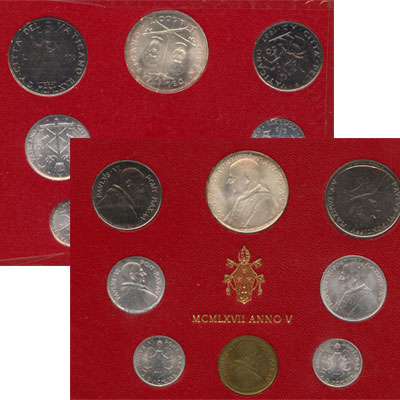 Изображение Подарочные монеты Ватикан Набор монет 1967 года 1967  UNC Набор монет 5-го год