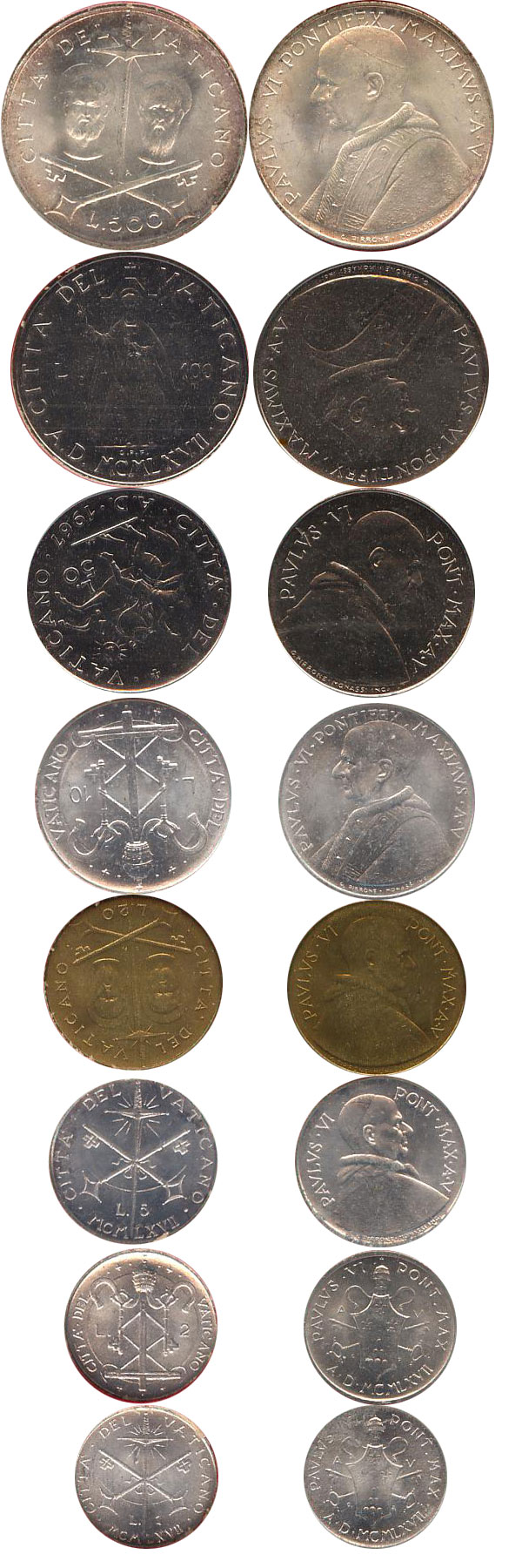 Набор монет Ватикан Набор монет 1967 года 1967 UNC фото 2