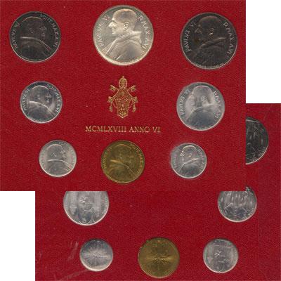 Изображение Подарочные монеты Ватикан Набор монет 1968 года 1968  UNC Набор монет 6-го год