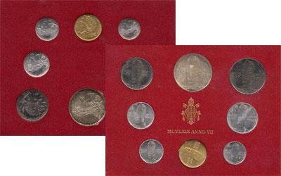 Изображение Подарочные наборы Ватикан Набор монет 1969 года 1969  UNC Набор монет 7-го год