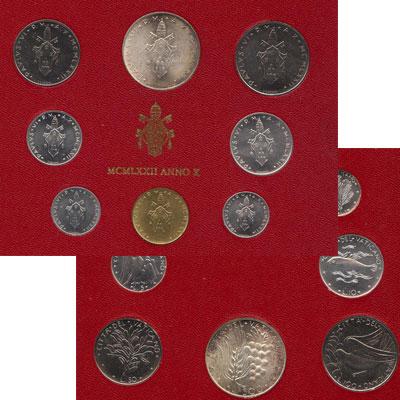 Изображение Подарочные наборы Ватикан Набор монет 1972 года 1972   Набор монет 10-го го