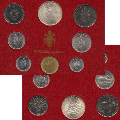 Изображение Подарочные монеты Ватикан Набор монет 1973 года 1973   Набор монет 11-го го