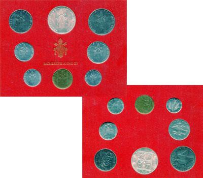 Изображение Подарочные монеты Ватикан Набор монет 1977 года 1977  UNC Набор монет 15-го го