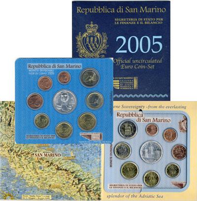 Изображение Подарочные наборы Сан-Марино Набор евромонет 2005 года 2005   Набор евромонет Сан-