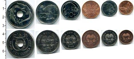 Изображение Наборы монет Папуа-Новая Гвинея Папуа-Новая Гвинея 2004-2006 0  UNC В наборе 6 монет ном