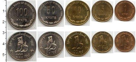 Изображение Наборы монет Мьянма Мьянма 1999 1999  XF+ В наборе 5 монет ном