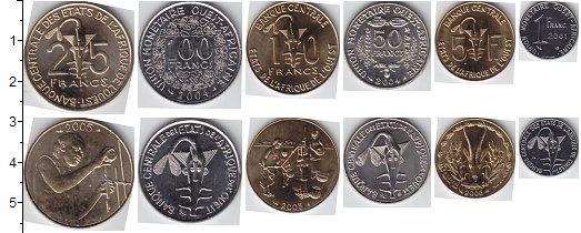 Изображение Наборы монет Центральная Африка Центральная Африка 2001-2014 2001  UNC В наборе 6 монет ном