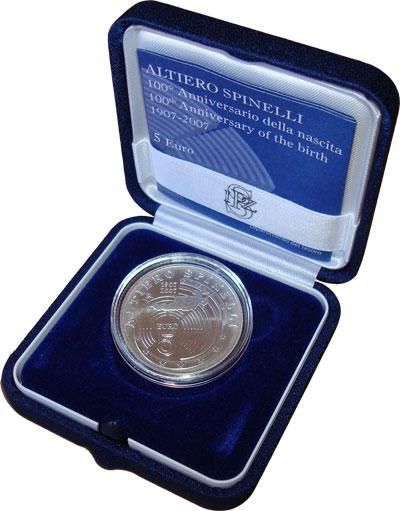 """Изображение Подарочные монеты Италия 5 евро 2007 Серебро UNC """"Подарочный набор по"""