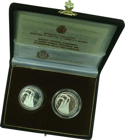 Изображение Подарочные монеты Сан-Марино Олимпийские игры 1984 года 1984 Серебро Proof Набор посвящен Олимп