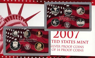 Изображение Подарочные монеты США Набор серебряных монет 2007 года в proof 2007 Серебро Proof