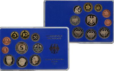 Изображение Подарочные монеты ФРГ Монеты 1983 (чеканка Мюнхена) 1983  UNC В наборе 10 монет 19