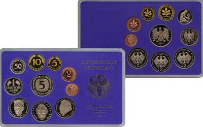 Изображение Подарочные монеты ФРГ Монеты 1991 (чеканка Мюнхена) 1991  UNC В наборе 10 монет 19