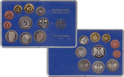 Изображение Подарочные монеты ФРГ Монеты 1975 (чеканка Карлсруэ) 1975  UNC В наборе9 монет 197