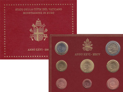 Изображение Подарочные наборы Ватикан Монеты 2004 2004  UNC Набор посвящен понти