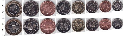 Изображение Наборы монет Гернси Гернси 1992-2011 0  UNC В наборе 8 монет ном