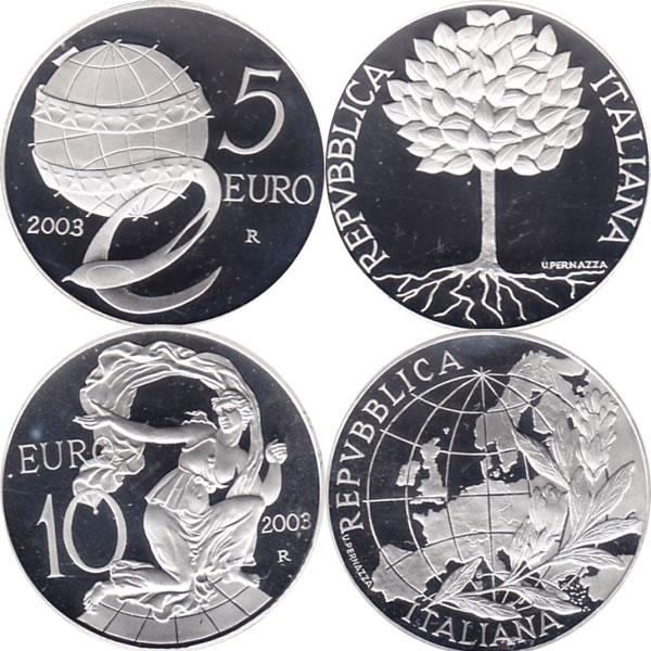 Картинка Подарочные наборы Италия Набор монет 2003 года Серебро 2003