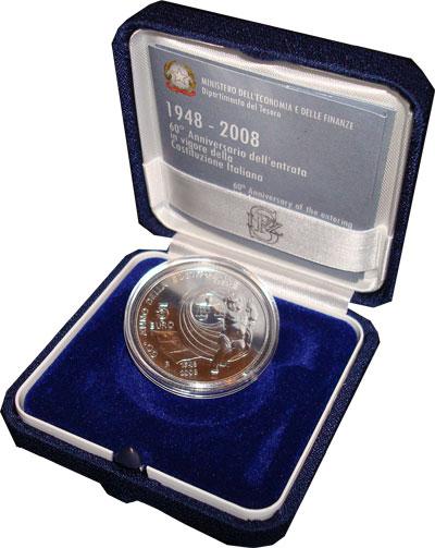 Изображение Подарочные наборы Италия Принятие конституции 2008 Серебро UNC