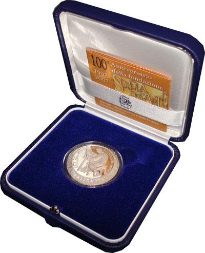 Изображение Подарочные монеты Италия Школа Искусства 2007 Серебро