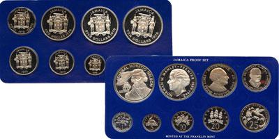 Изображение Подарочные монеты Ямайка Набор монет 76 года 1976 Серебро Proof Подарочный набор пос
