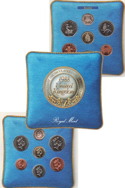 Изображение Подарочные монеты Великобритания Набор монет 1988 года 1988  UNC Подарочный набор Вел