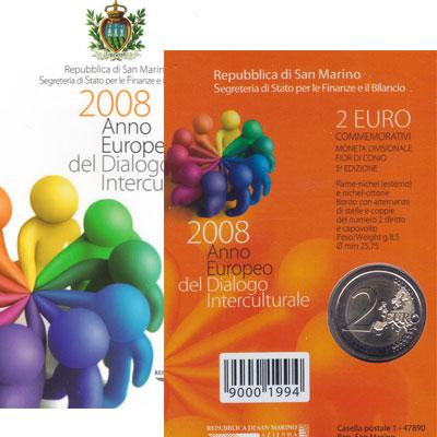 Изображение Подарочные монеты Сан-Марино Европейский межкультурный диалог 2008 2008 Биметалл UNC