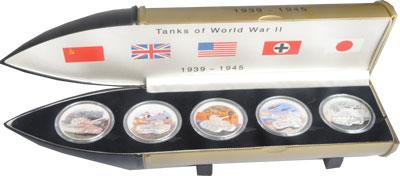 Изображение Подарочные монеты Либерия Танки Второй Мировой Войны 2008 Серебро Proof Подарочный набор пос