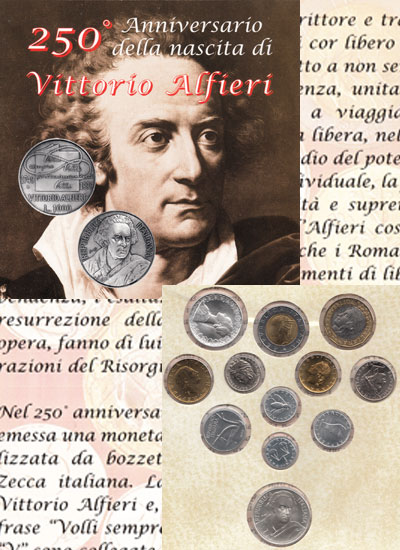 Изображение Подарочные монеты Италия Витторио Альфиери 1999  UNC