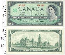 Изображение Боны Канада 1 доллар 1967  UNC Портрет королевы Ели