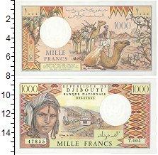 Изображение Банкноты Джибути 1.000 франков 0  UNC Женщина на фоне поез