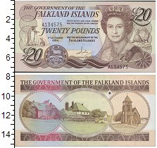Изображение Боны Фолклендские острова 20 фунтов 2011  UNC Портрет Елизаветы I.