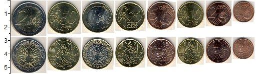 Изображение Наборы монет Франция Франция 1999-2001 0  UNC- В наборе 8 монет ном