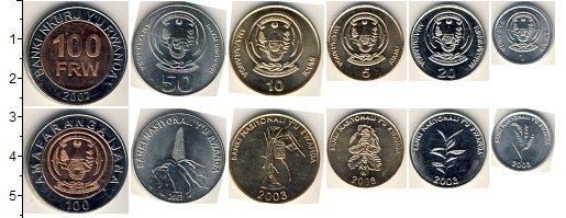Изображение Наборы монет Руанда Руанда 2003-2007 0  UNC В наборе 6 монет ном